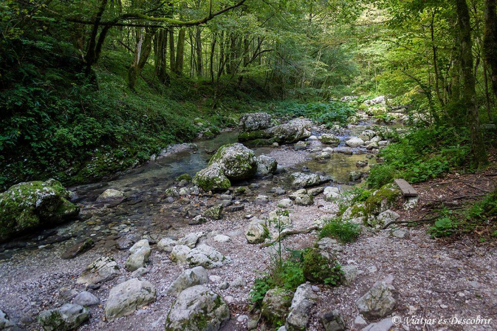 sendero en la valle del rio soca hasta la cascada kozjak