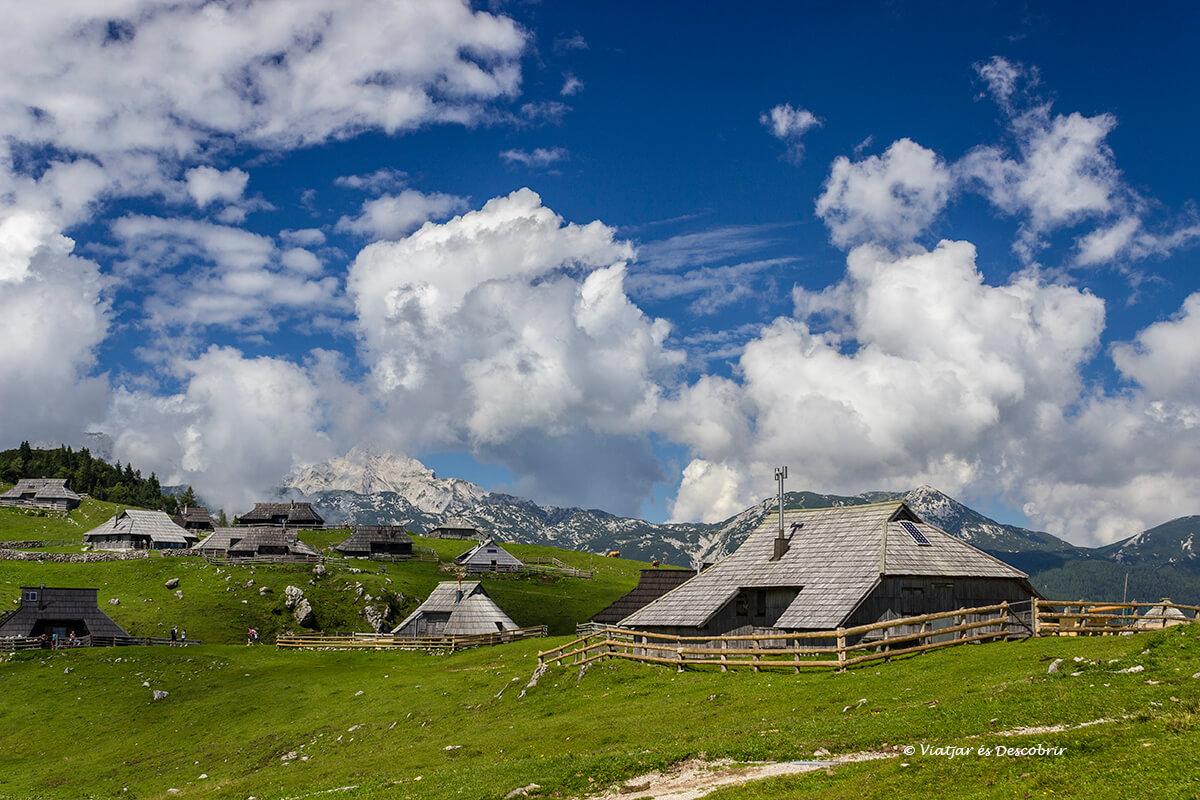 casas de pastores en los prados de velika planina durante el verano