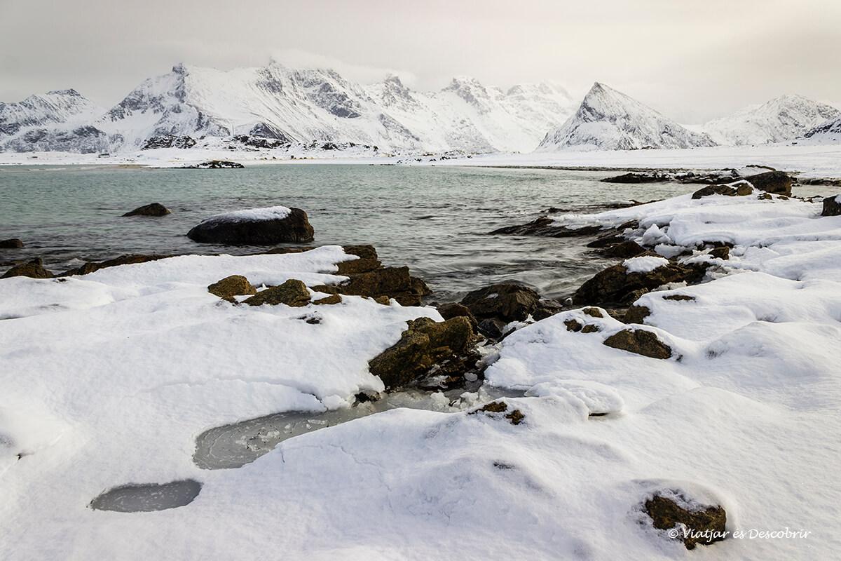 playa nevada en el viaje a las islas lofoten en invierno