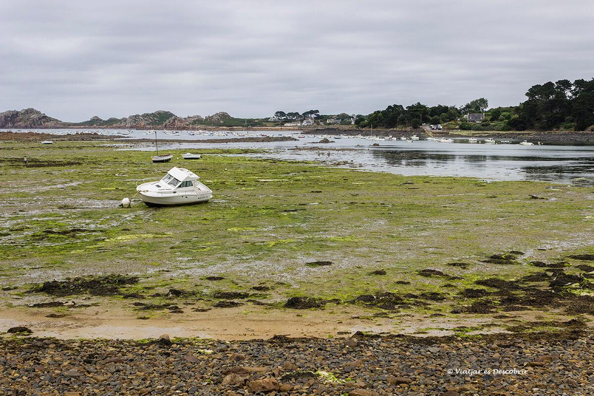 el litoral de la bretaña francesa con marea baja tiene un gran encanto