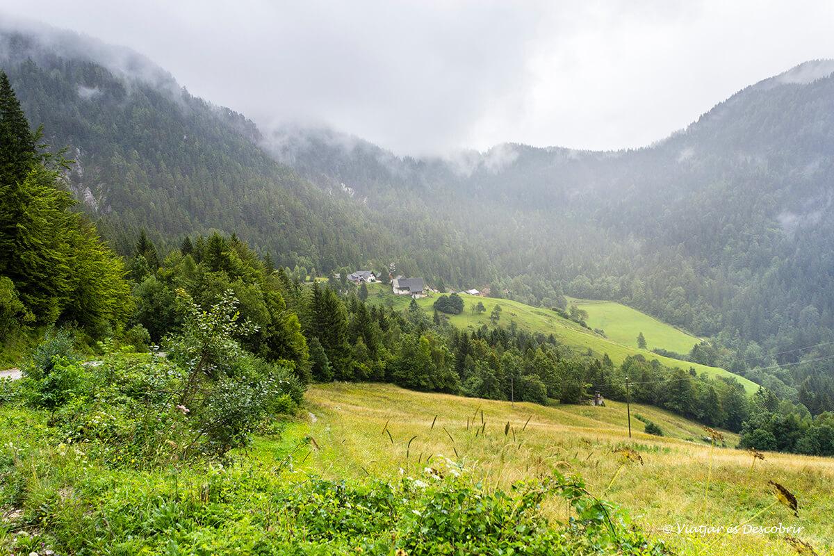 paisaje rural en el valle topla cerca del valle de logarska dolina en eslovenia