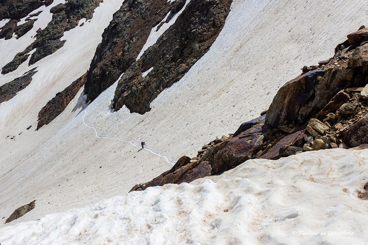 descenso hasta el port de sotllo en un paisaje nevado