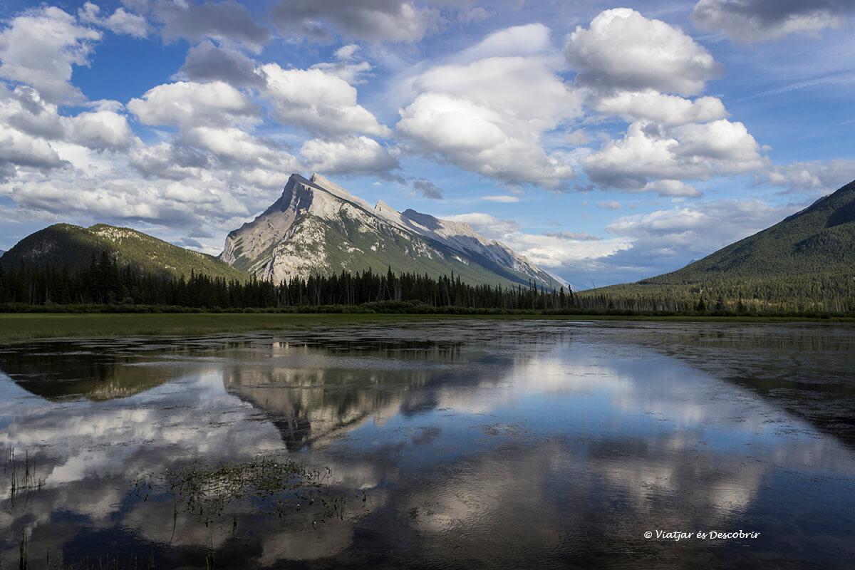 reflejos en el lago vermillion en el parque nacional banff