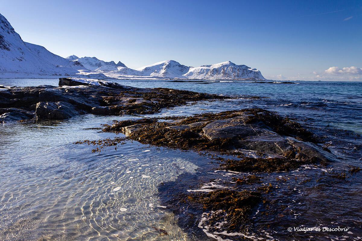 playa en la costa norte de las islas Lofoten noruega