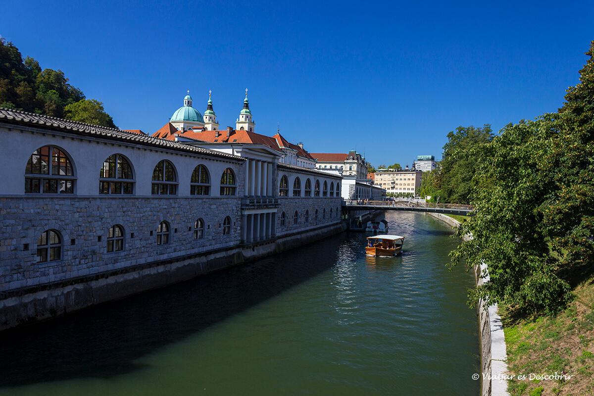 afueras de la parte más céntrica de ljubljana con el río y vegetación